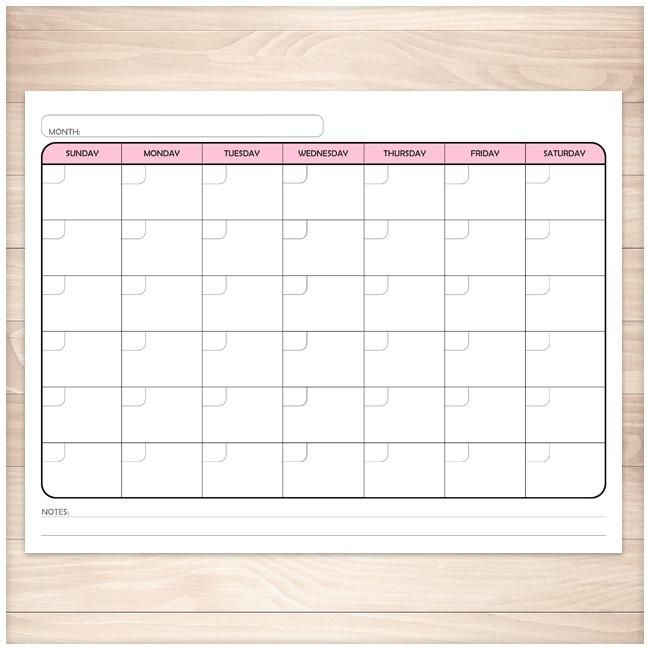 Modern Blank Monthly Calendar Pink Full Page Printable