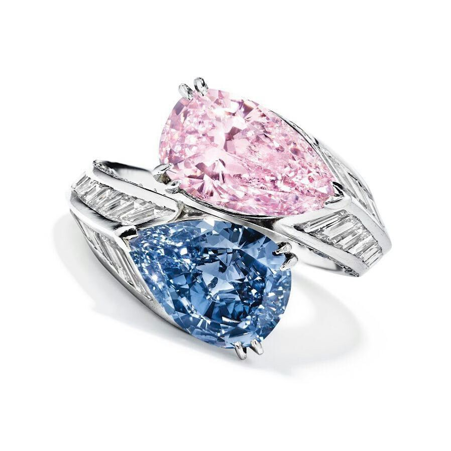 This Breathtaking Cartier Twin Stone Fancy Vivid Blue Diamond And Fancy Intense Pink Diamond Ring Of 2  85 Carats Will Go Under The Hammer At