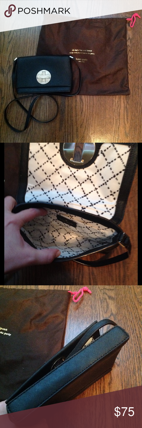 Kate Spade Black Crossbody Bag Great for travel and near perfect condition! Dust bag included. kate spade Bags Crossbody Bags