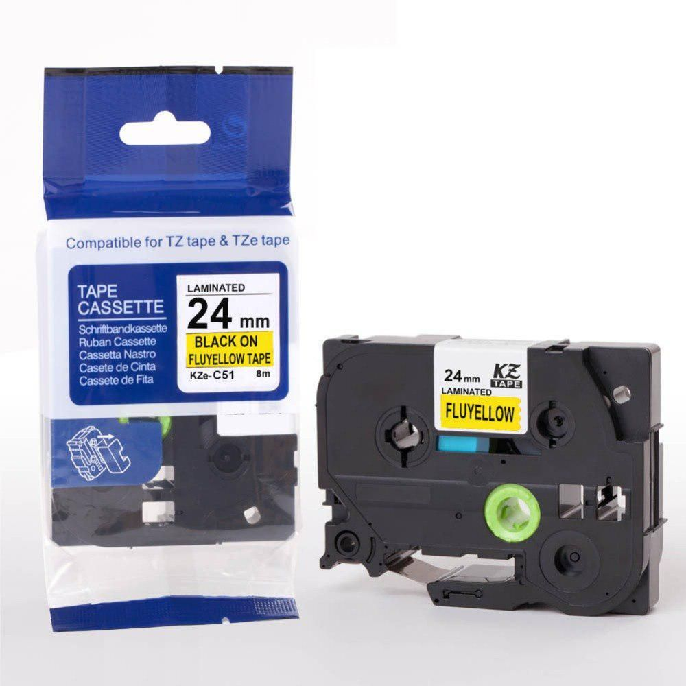 TZ C51 TZe-C51 P Touch Compatible Brother Label Tape Black on Fluo Yellow 24mm