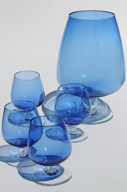 mid-century mod glass cocktail drinks set, cobalt blue clear stemmed glasses & pitcher