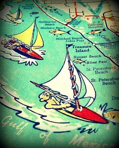Treasure Island Florida Map.Vintage Florida Map Art Map Gifts St Petersburg Map Art 8x10