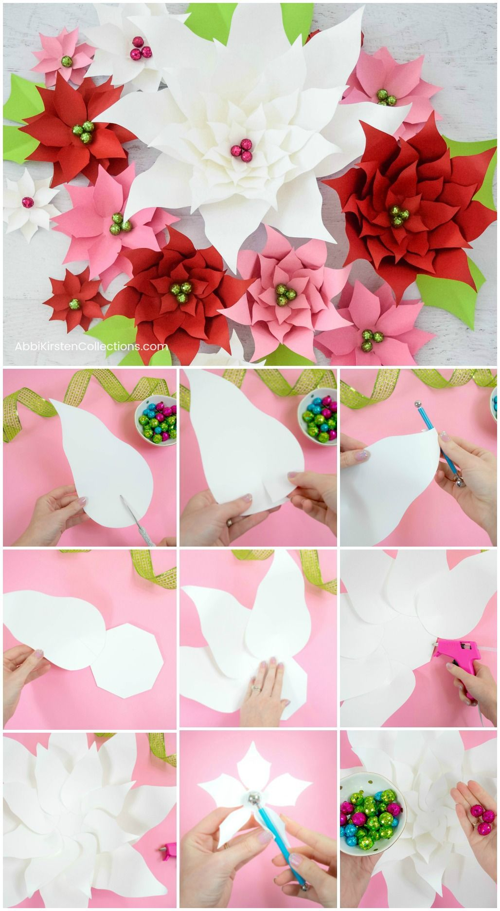 Diy Christmas Paper Poinsettia Decoration How To Make Large Paper