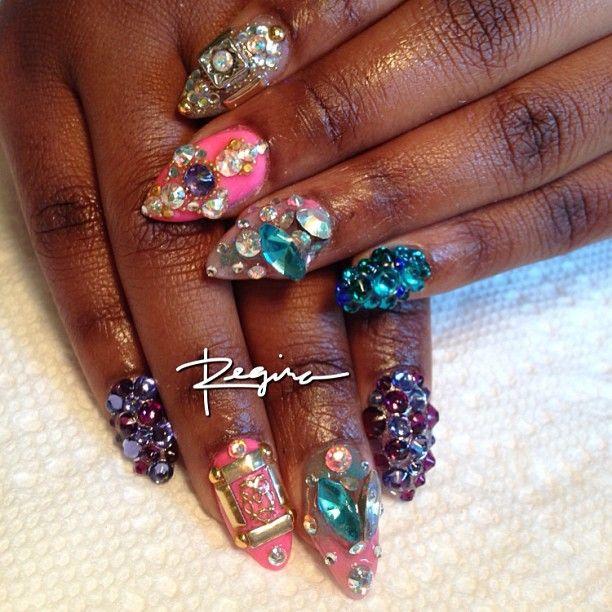 Regina Rodriguez   Multicolor bling gel   Nail Designs   Pinterest ...