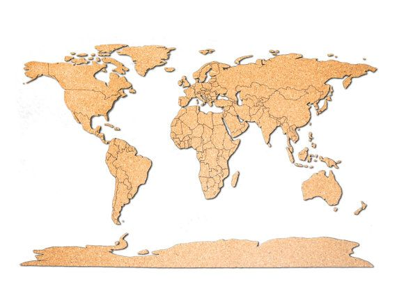 World map push pin corkboard with countries outlined adhesive cork world map push pin corkboard with countries outlined world cork map sciox Image collections