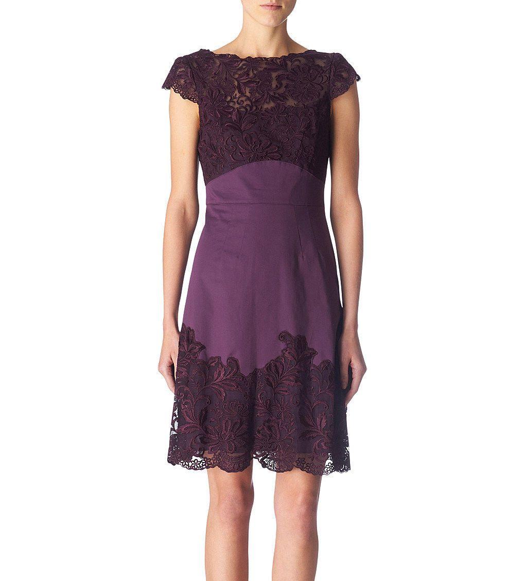 Karen Millen Purple Satin Embroidered Lace Beaded Dress