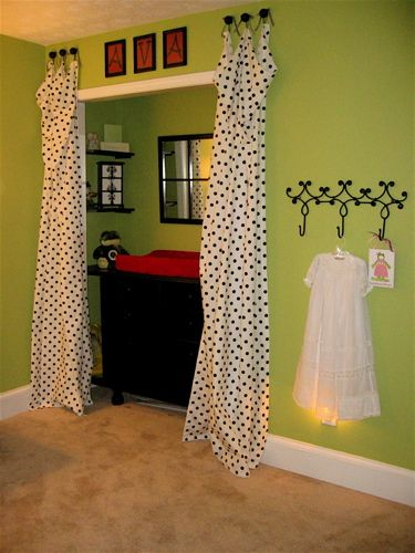 Put The Changing Table In The Door Less Closet With Adorable Curtains!
