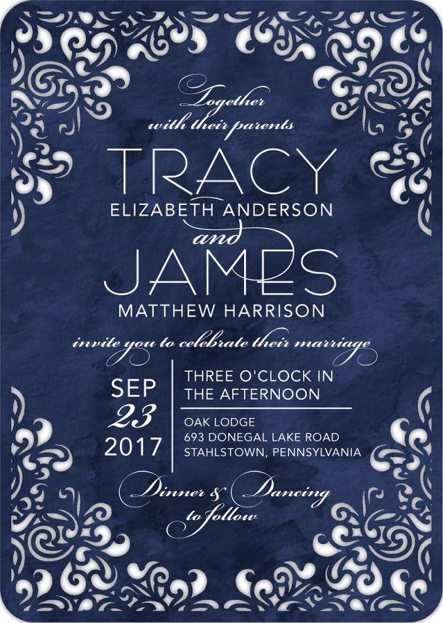Flourishing Diamond - Signature Laser Cut Wedding Invitations in ...