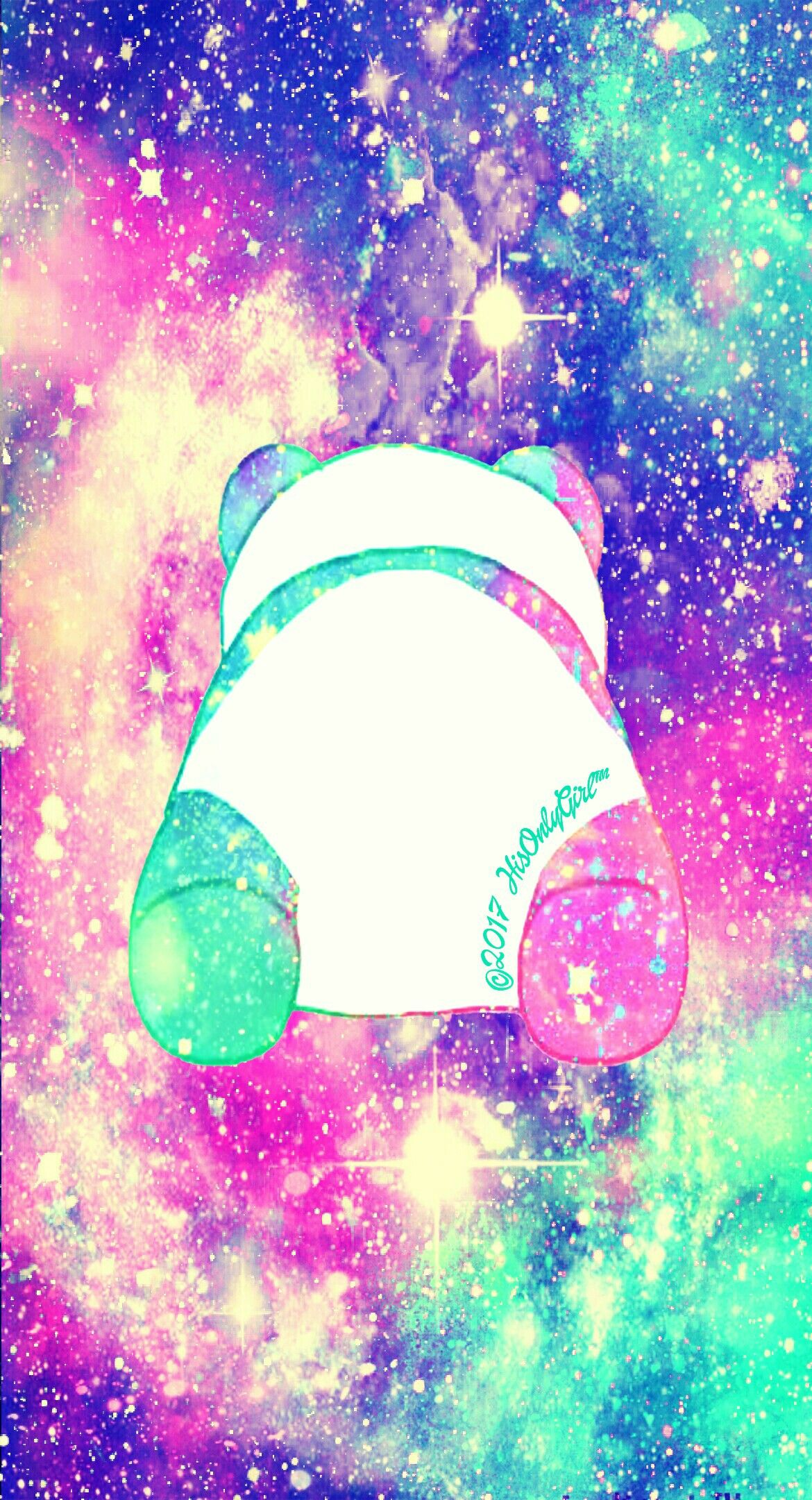 Colorful Panda Cheeks Galaxy Wallpaper I Created For The App Cocoppa Cute Galaxy Wallpaper Cool Galaxy Wallpapers Panda Background