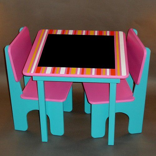 Striped Chalkboard Childrens Table And Chairs. Must Make