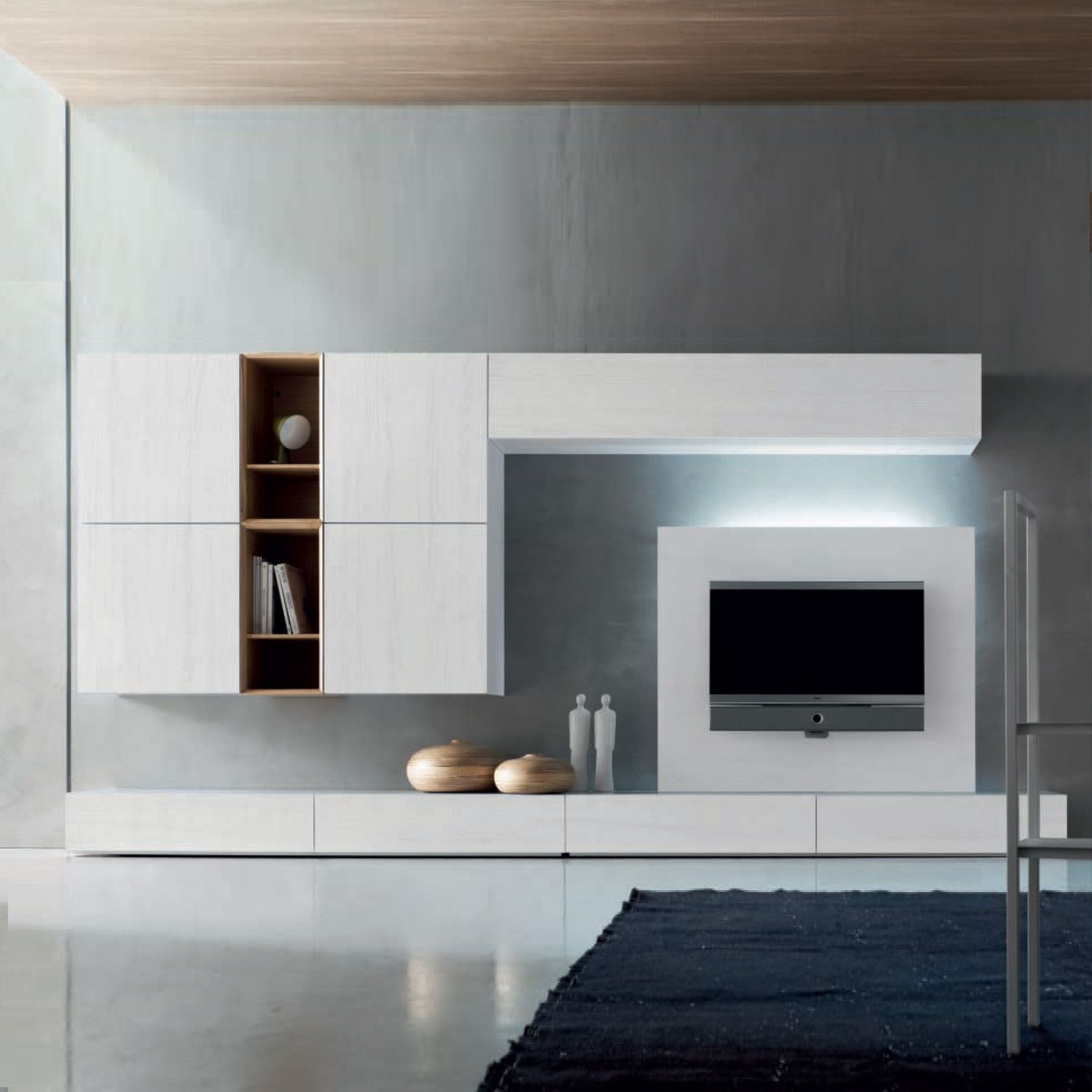 Italian wall units living room - Tv Media Unit White Wood By Santa Lucia Modern Design Furniture Composition Free Uk And Eu Delivery