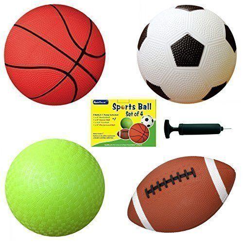 Set Of 4 Sports Balls With 1 Pump 5 Soccer Ball 5 Basketball 5 Playground Ball 6 5 Football Apple Round Globa Sports Balls Playground Balls Soccer Ball