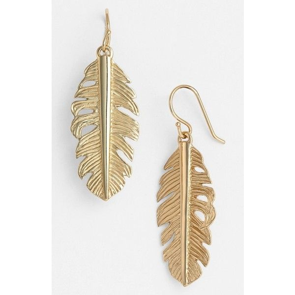 Melinda Maria Feather Drop Earrings 48 Liked On