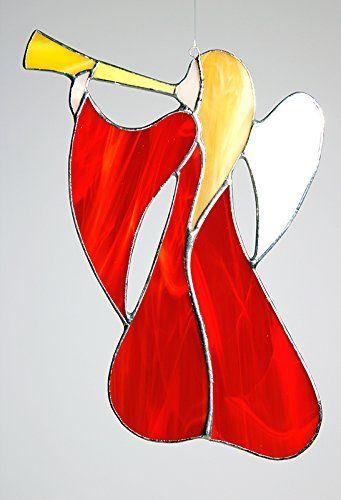 "Glas- Fensterbild, Glashänger ""Schwungvoller Trompeten Engel"" rot, Glasengel: 17 x 16 cm, Tiffany Glas Manoeye http://www.amazon.de/dp/B00QPGZR4W/ref=cm_sw_r_pi_dp_lh1twb1527V80"