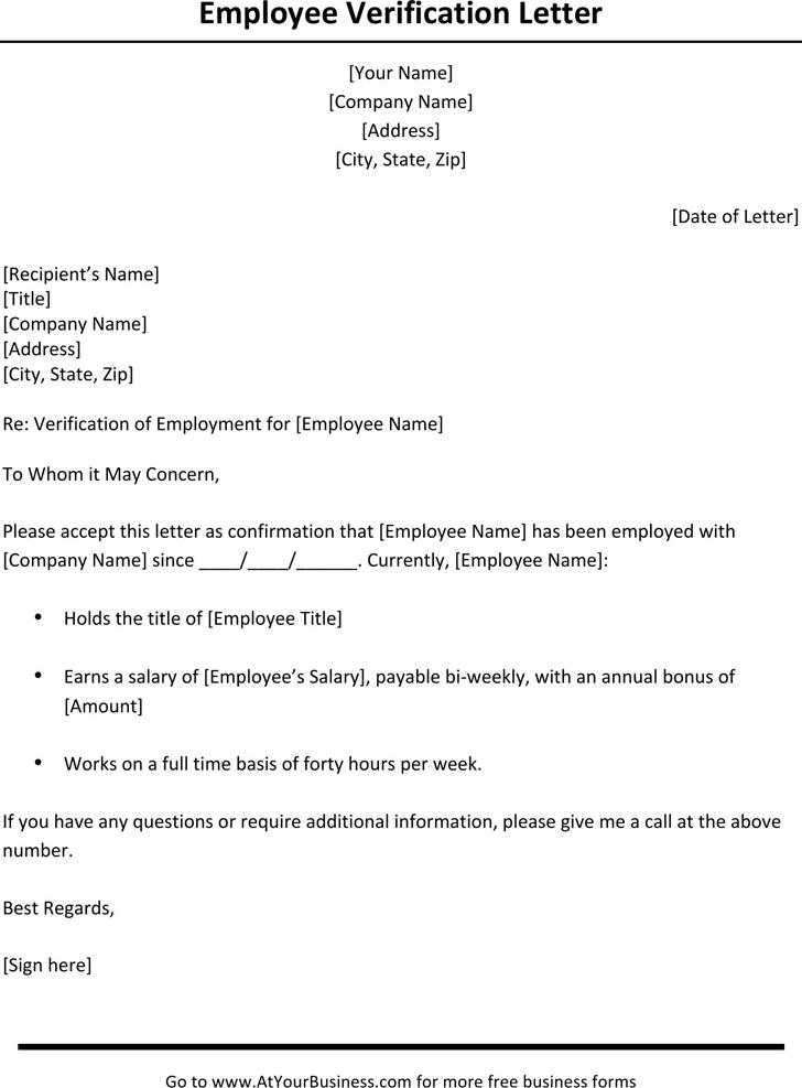 Employment verification letter proof of employment