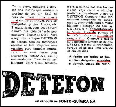 """ANOS DOURADOS: IMAGENS & FATOS: IMAGENS - Anúncio: """"DETEFON"""""""