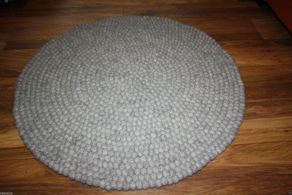 Surrey Round Felt Ball Rug Carpet 90 120 Cm 100 New Wool Handmade Rugs On Carpet Felt Ball Felt Ball Rug