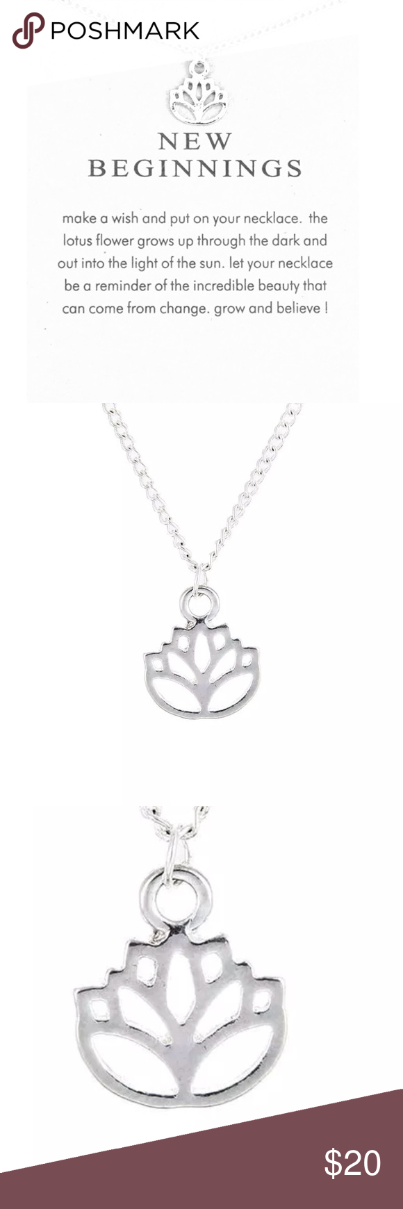 Dogeared Lotus New Beginnings Silver Necklace Brand New Never