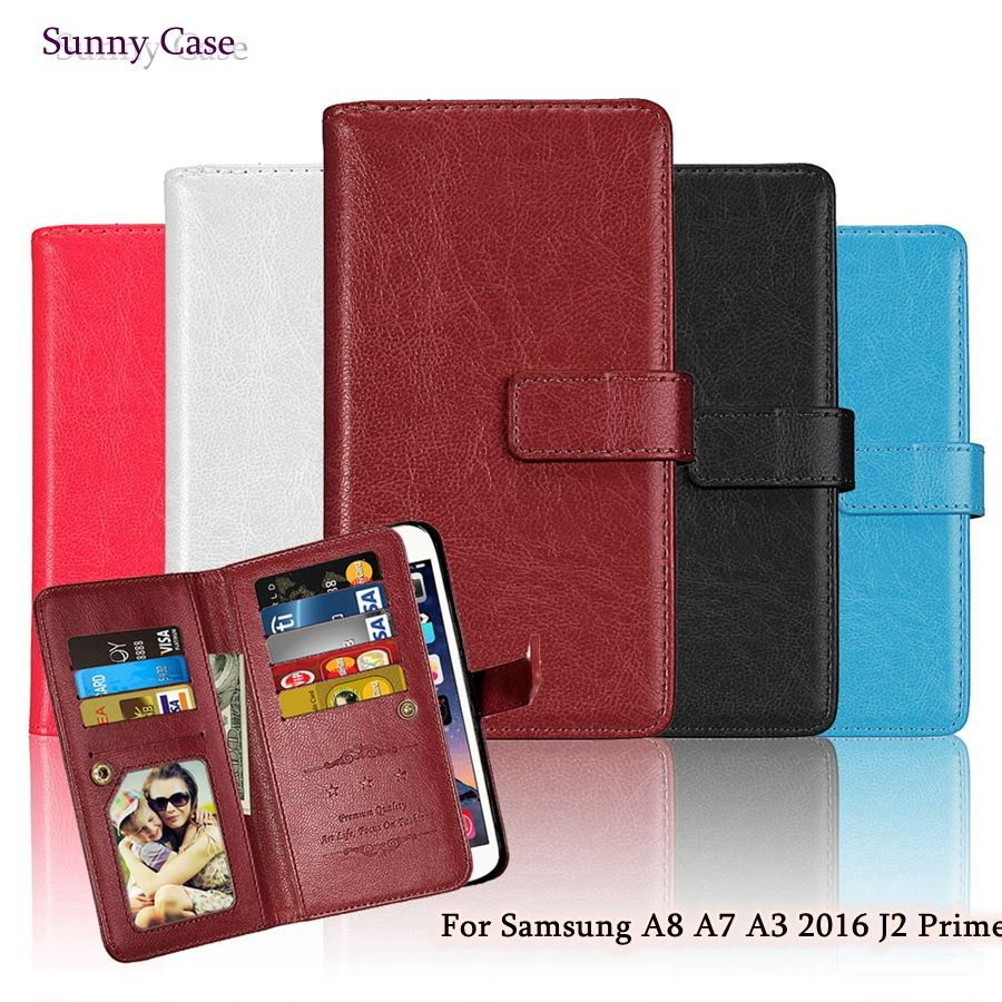 >> Click to Buy << 2017 New Flip Leather Case for Samsung Galaxy A3 A7 A8(6) J2 Prime Luxury Wallet Back Cover for Samsung J2 Prime A8 A7 A3 2016 #Affiliate