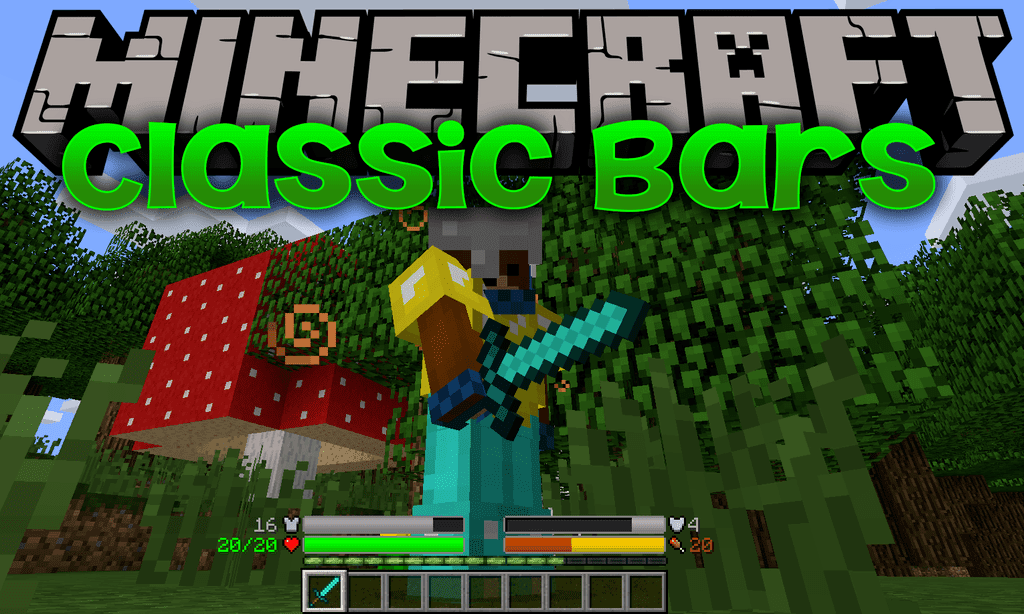 Classic Bars Mod 1 14 4 1 12 2 Replaces The Traditional Icon Rows In The Hud With Icon Bars With This Comes S Classic Bar Minecraft Pocket Edition Minecraft 1