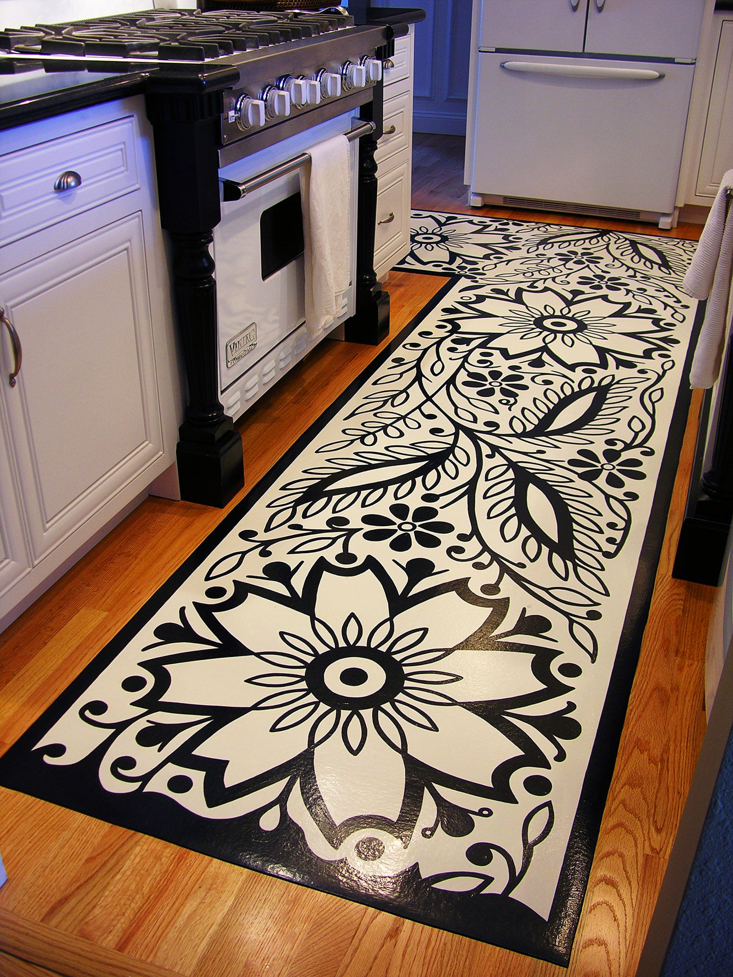 Black And White Kitchen Vinyl Flooring floor mats painted on the backside of vinyl flooring. holy cow i'm