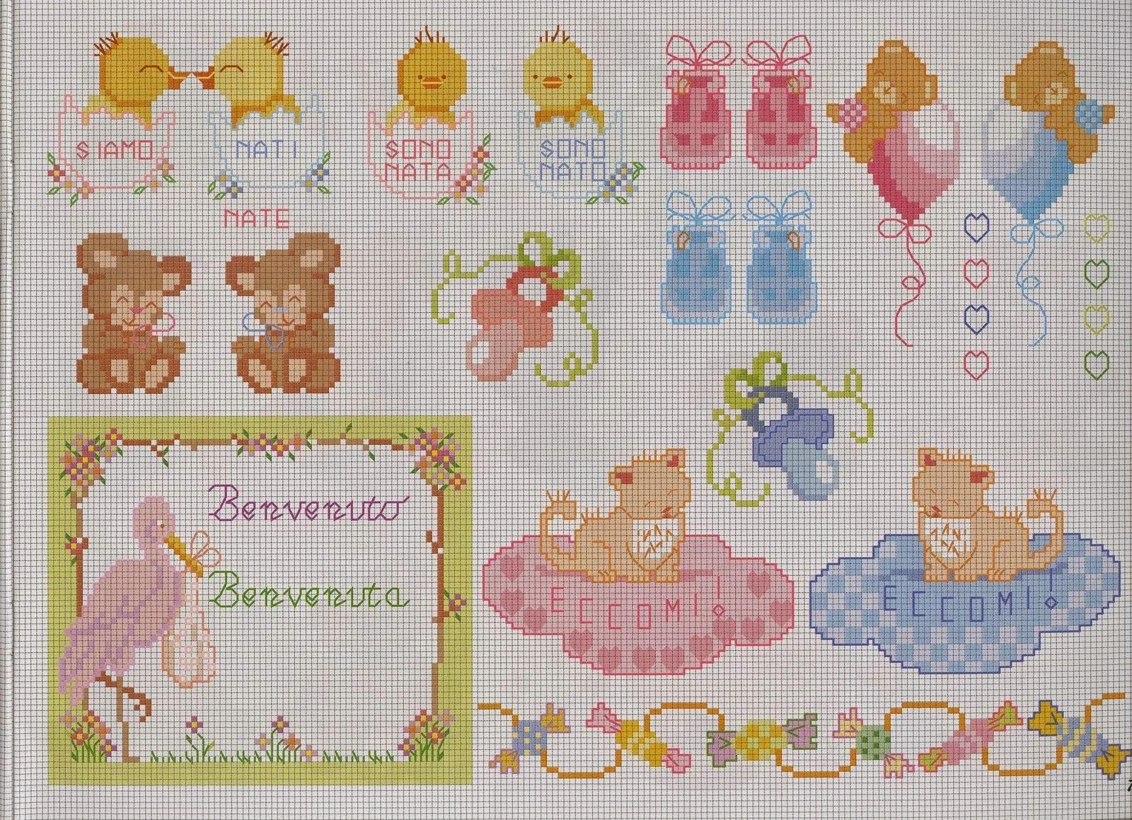 Schemi per il punto croce motivi per bambini a punto for Farfalle a punto croce per bambini