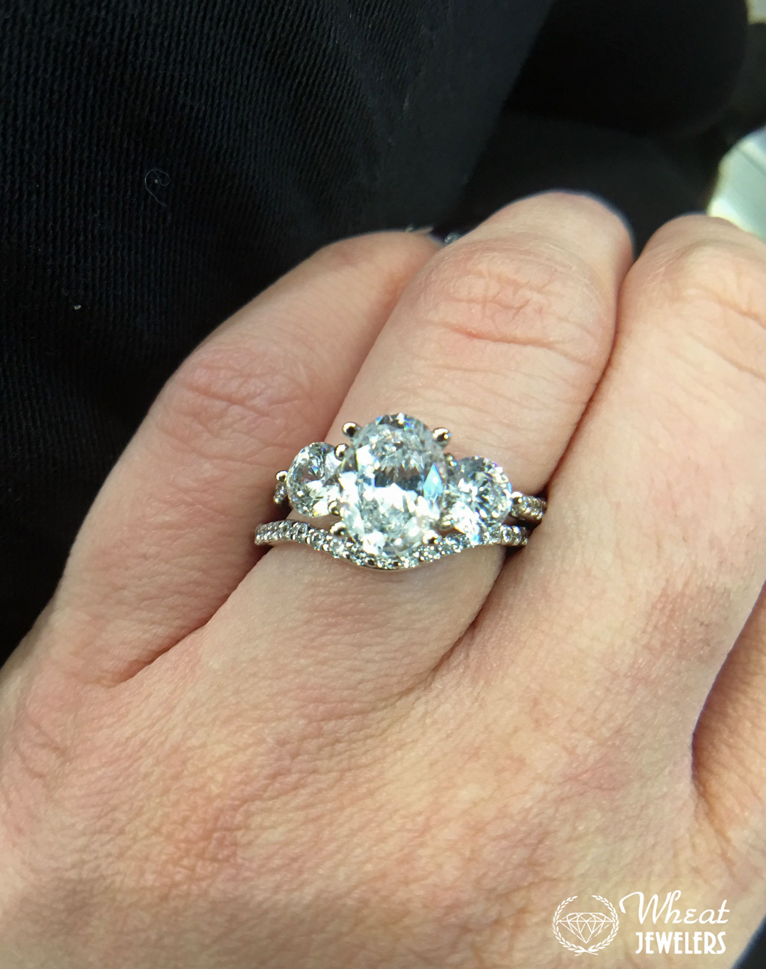 14k White Gold 3 Stone Oval Engagement Ring With Matching Wedding