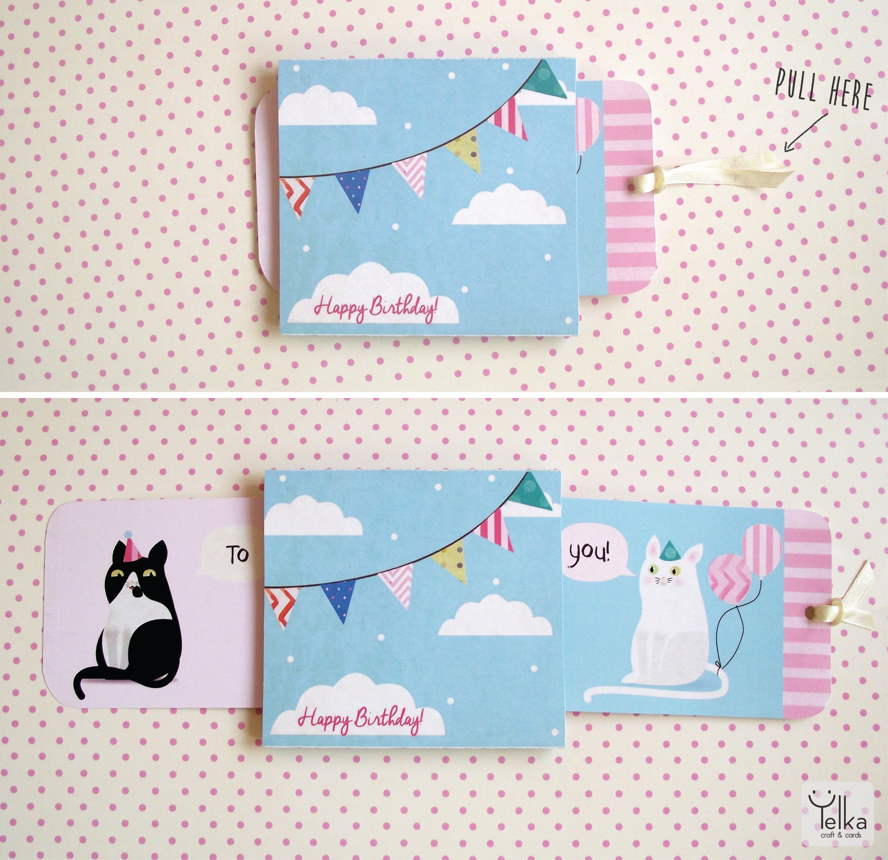 Push And Pull Interactive Birthday Card With Cats