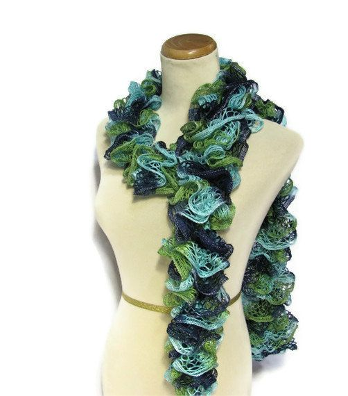 Hand Knit Ruffled Scarf  Green Blue Turquoise by ArlenesBoutique, $27.95