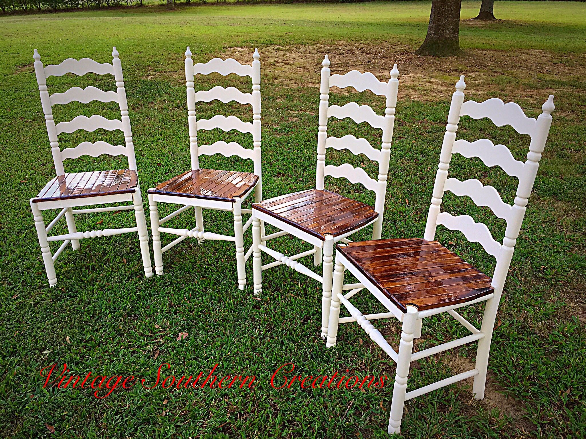 Ladder back chairs with cushions - Repurposed Ladder Back Chairs By Vintage Southern Creations