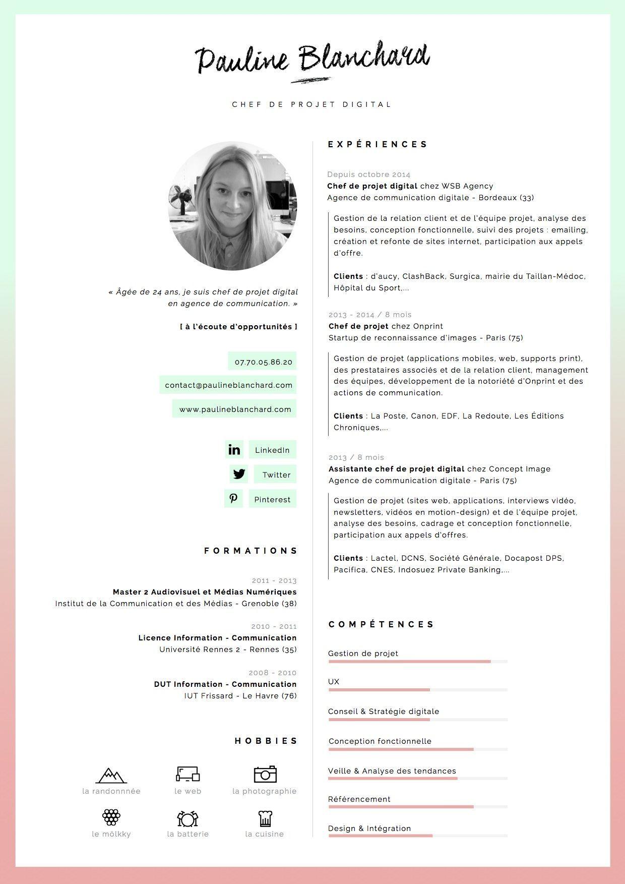 cv pauline blanchard  chef de projet digital  u00e0 bordeaux