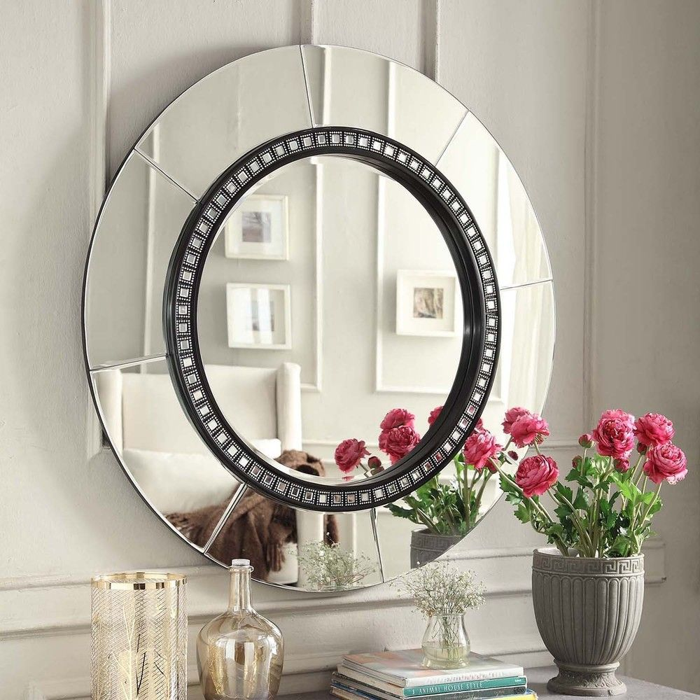 Inspire Q Miranda Tile Trim Round Accent Wall Mirror
