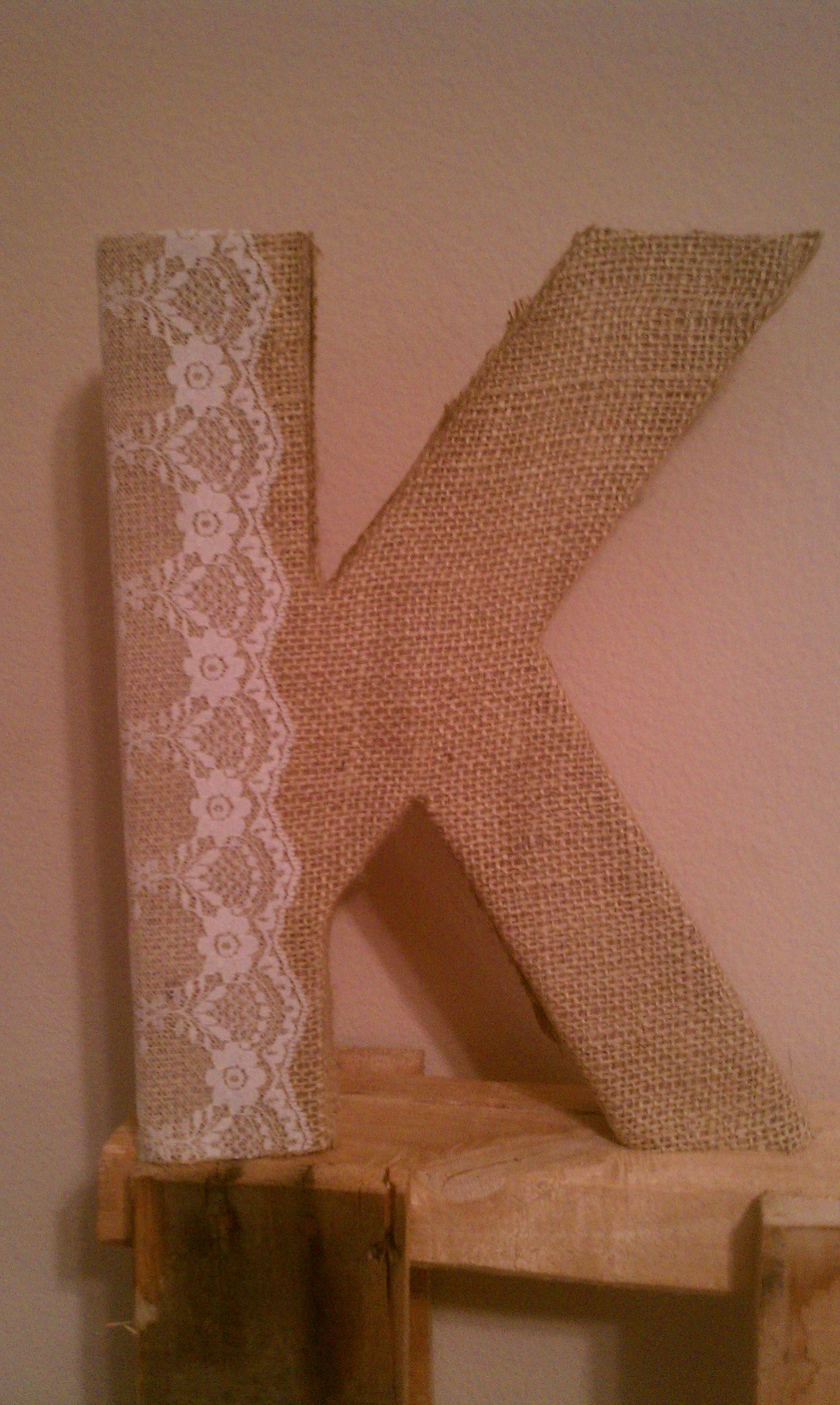 craft letter covered with burlap and lace :) | My vintage farm house ...