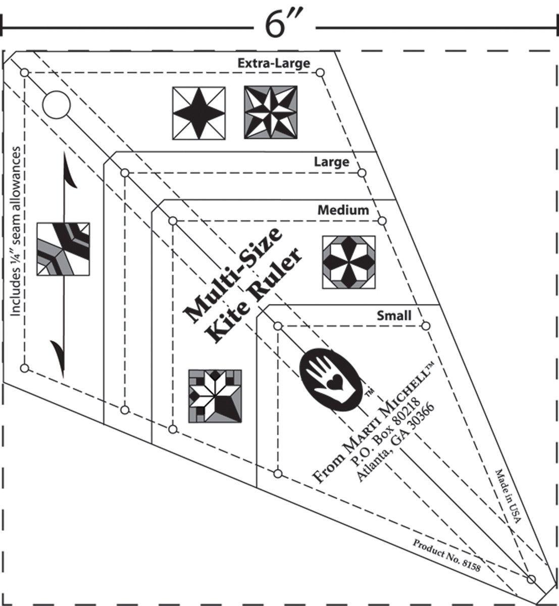 MultiSize Kite Ruler  Kites Quilt Sizes And Tree Skirts