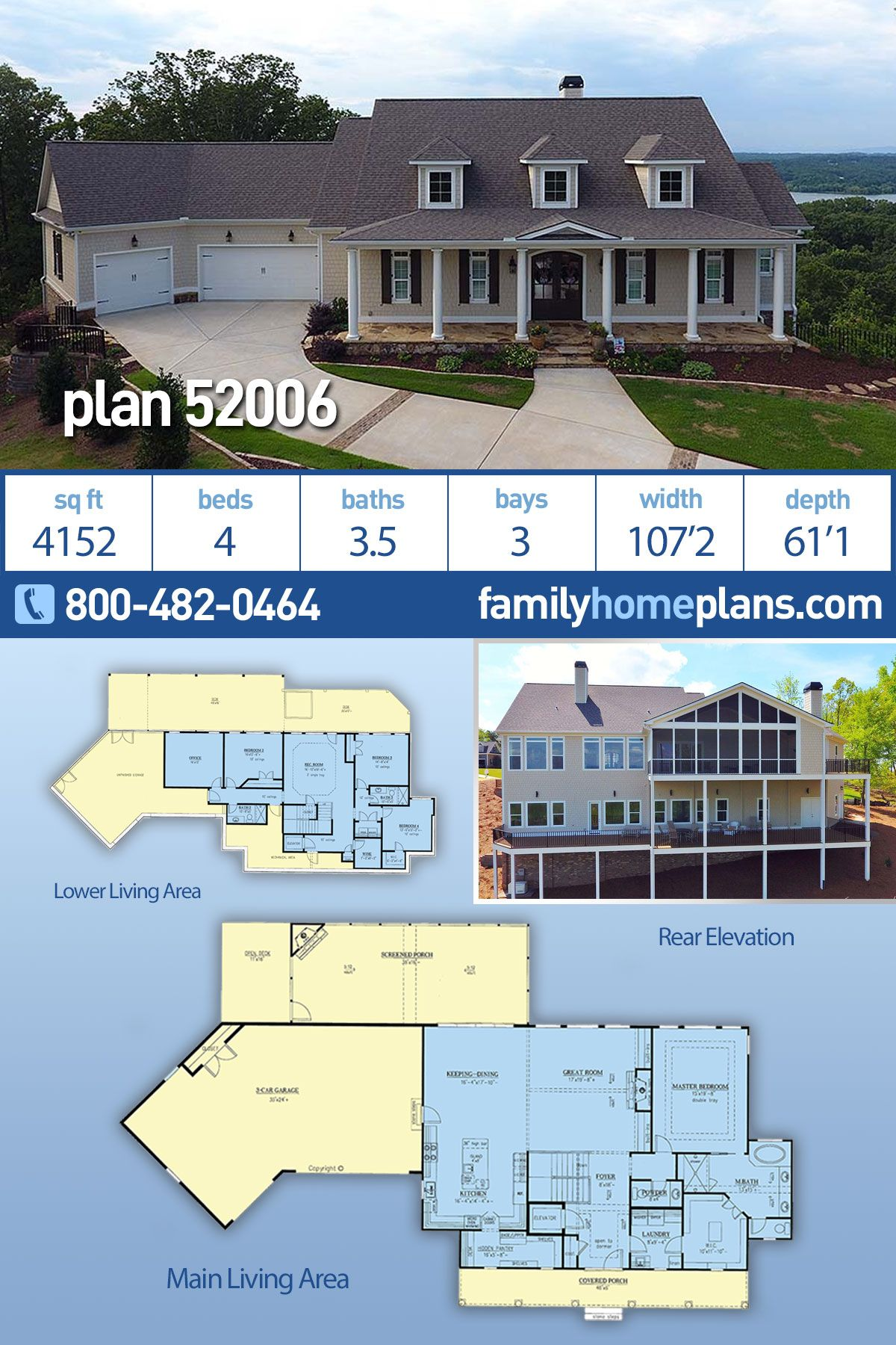 Traditional Style House Plan 50026 With 3 Bed 4 Bath 2 Car Garage Farmhouse Style House Plans Basement House Plans House Plans Farmhouse
