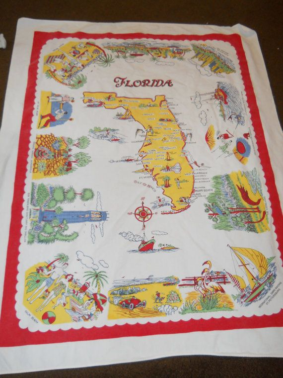 Love It Florida Style: 1940's Vintage Florida Souvenir Tablecloth, Bright And