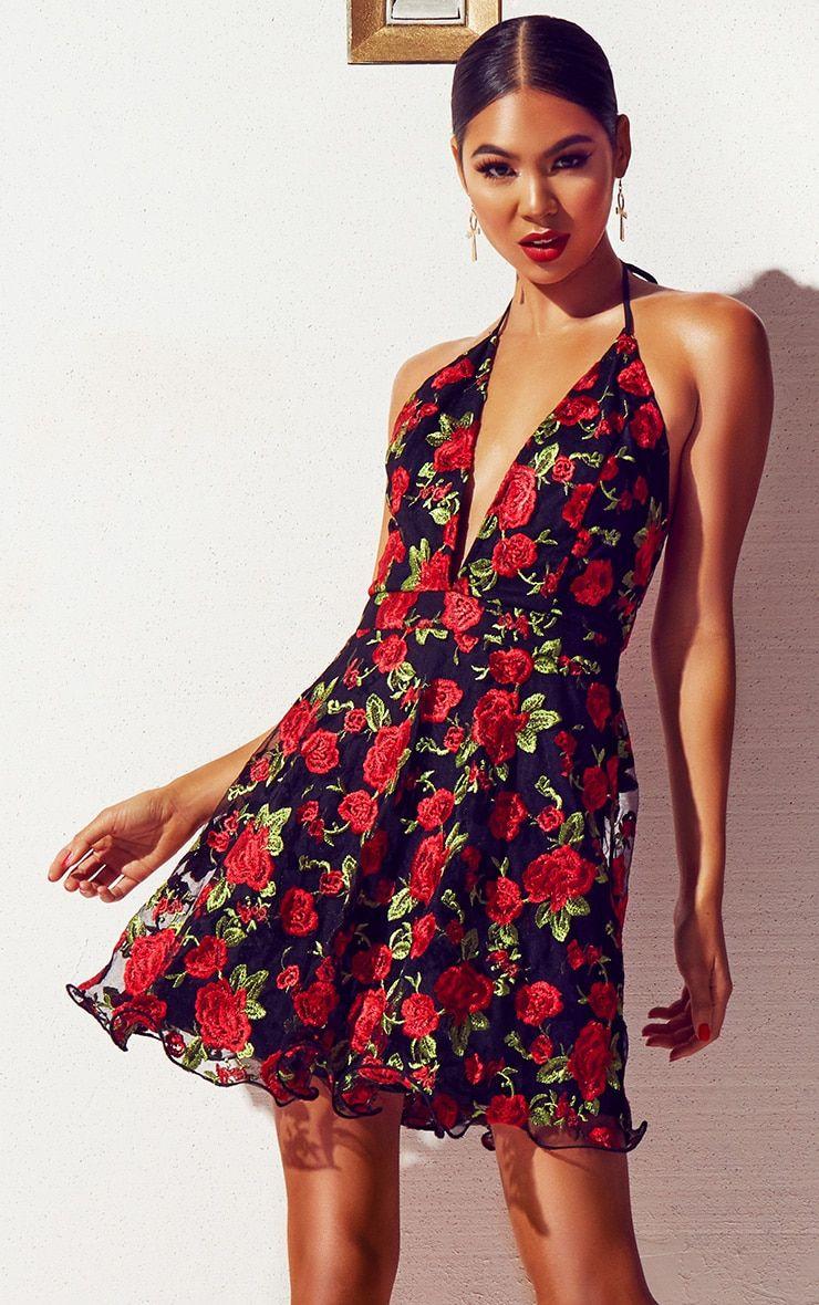 707cd6a719be Black Floral Embroidered Halterneck Plunge Skater Dress | Pretty ...