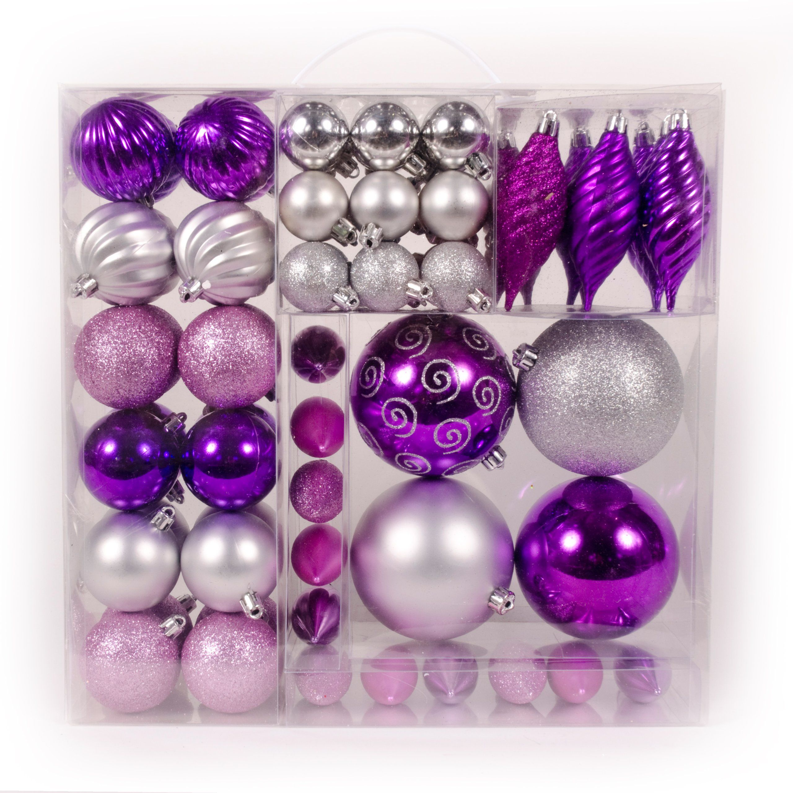 WeRChristmas 75 Piece Deluxe Variety Christmas Tree Baubles Decoration Pack,  Pink/ Purple/ Silver/ Fuchsia