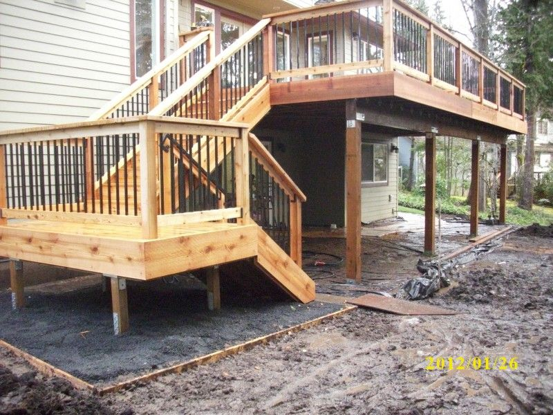 The complete guide about multi level decks with 27 design for Two story deck design pictures