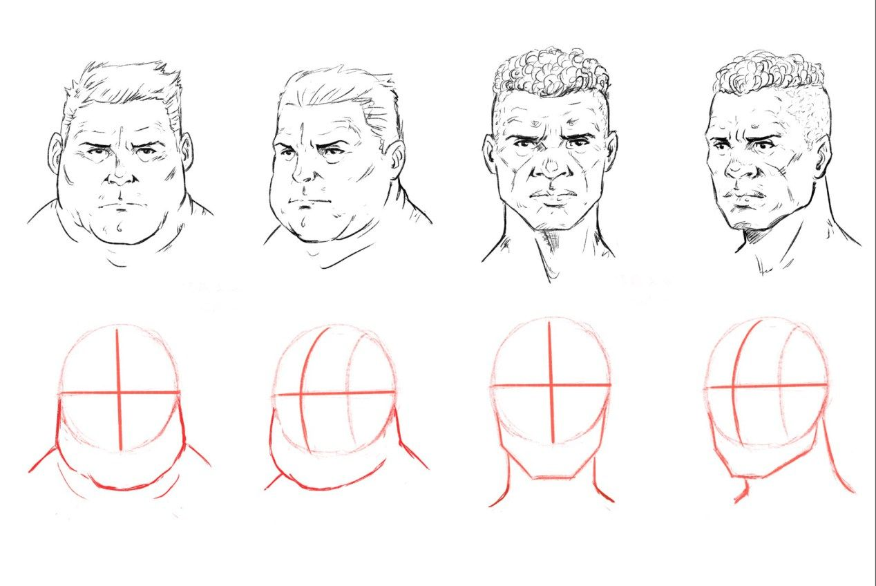 How To Draw A Face Drawing The Male And Female Head Front And 3 4 Face Drawing Face Drawing Reference Drawings