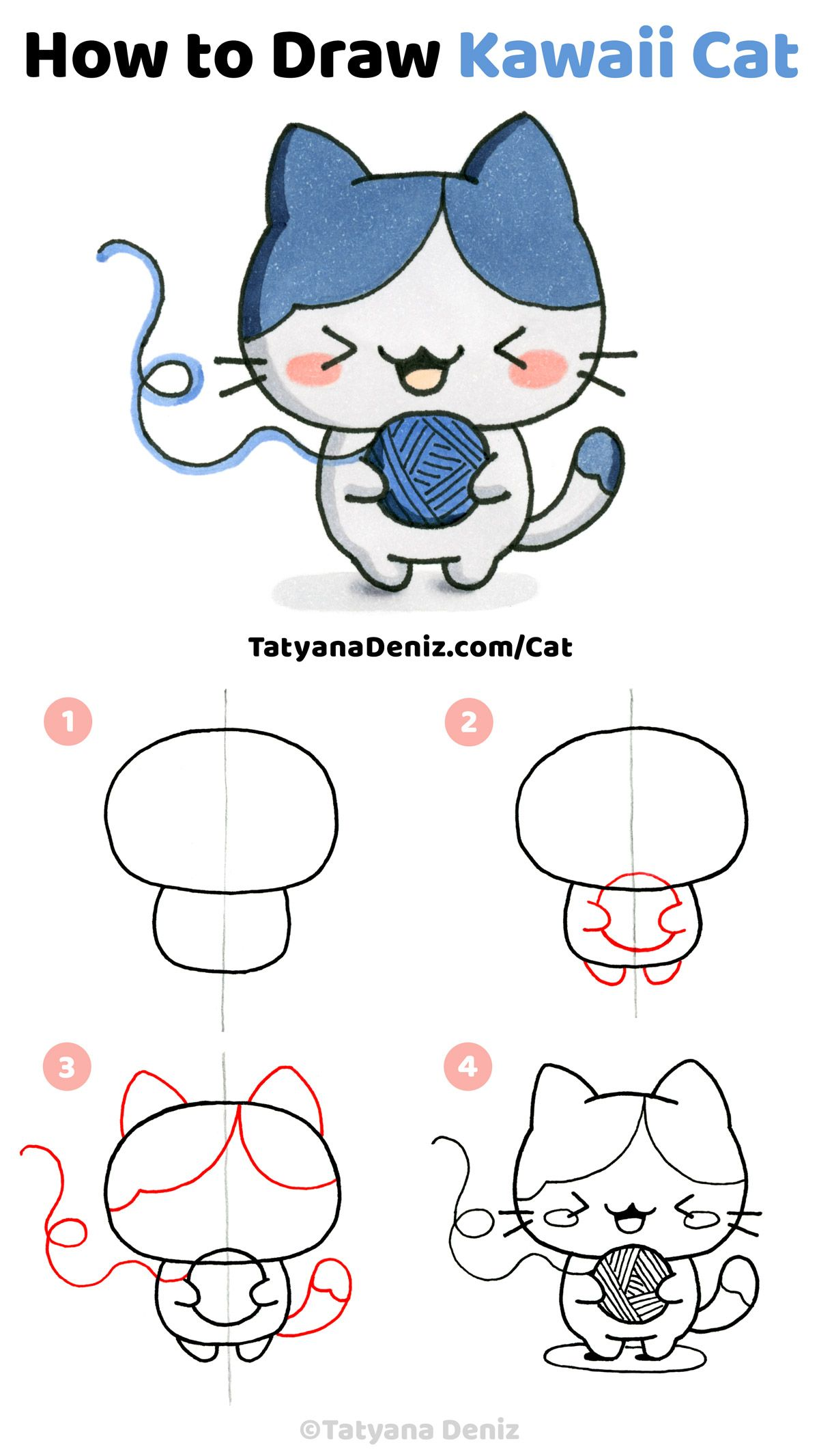 How To Draw Kawaii Cat Step By Step Drawing Tutorial Kawaii Cat Drawing Cat Drawing Tutorial Simple Cat Drawing
