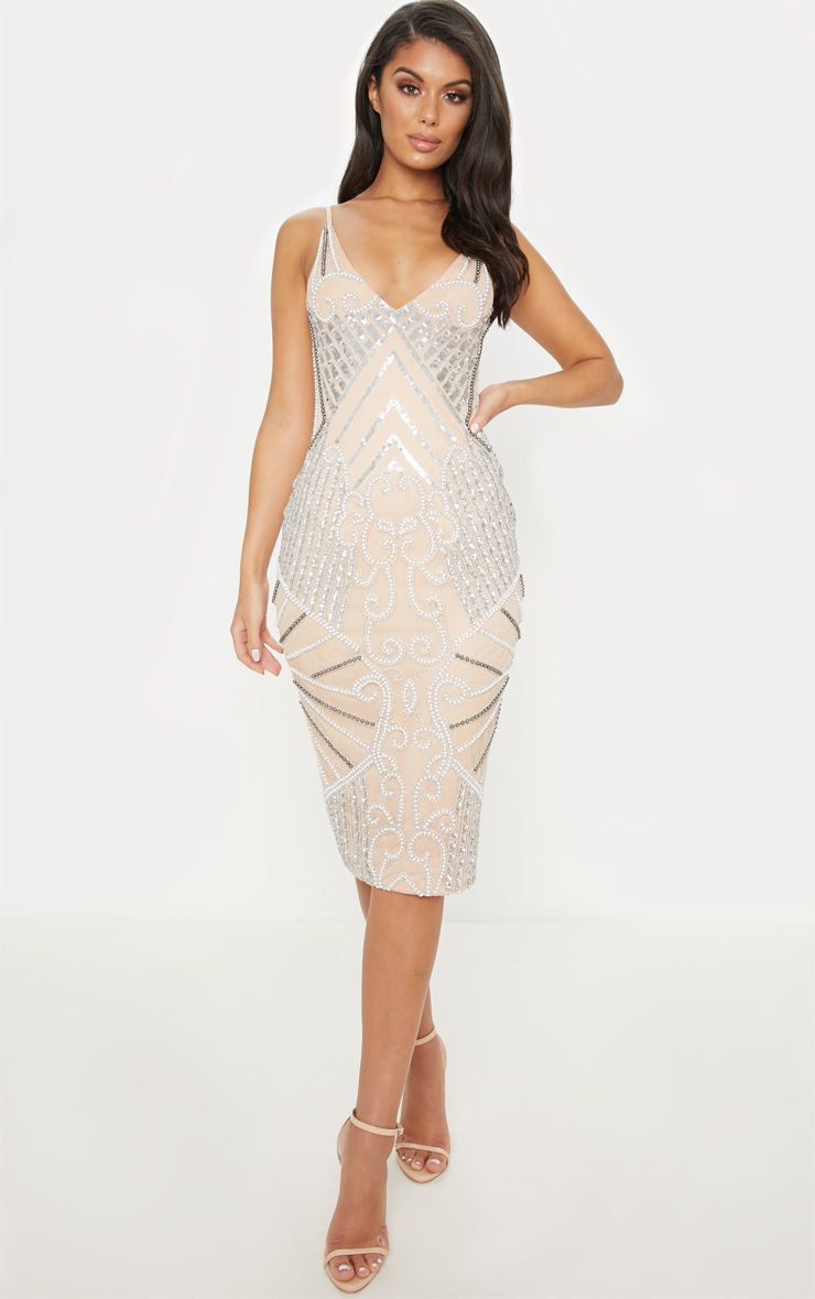 a2f67e2aba15 Nude Strappy Sequin Pearl Embellished Midi Dress in 2019   2020 ...