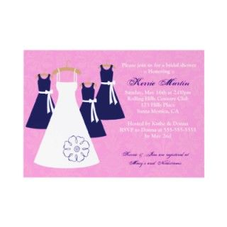Pink and Nave shower invitation.