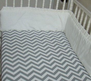 Crib Sheet Fitted Grey Chevron ZigZag by WeeLittleBundles on Etsy, $29.00