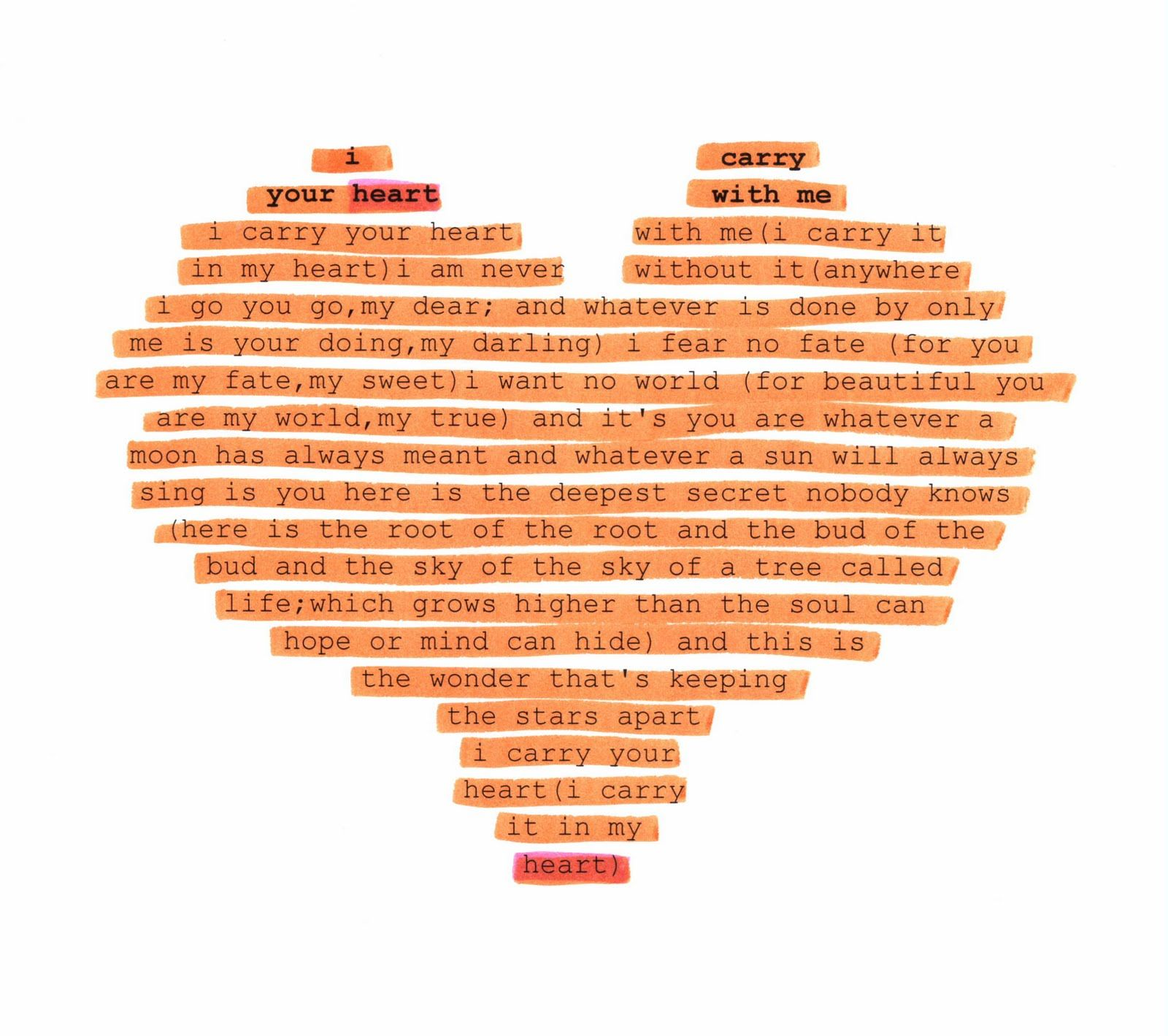 A Poem By E Cummings Typed Into The Shape Of Heart Important Parts