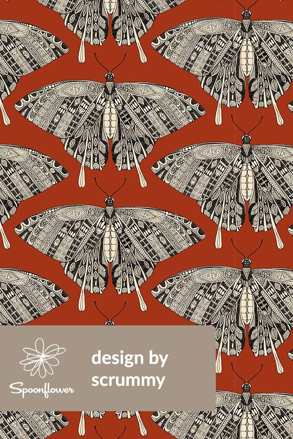 Colorful fabrics digitally printed by Spoonflower – swallowtail butterfly terracotta black