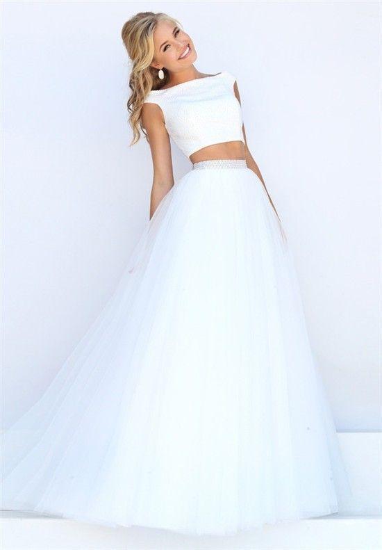 16+ Two piece white dress information
