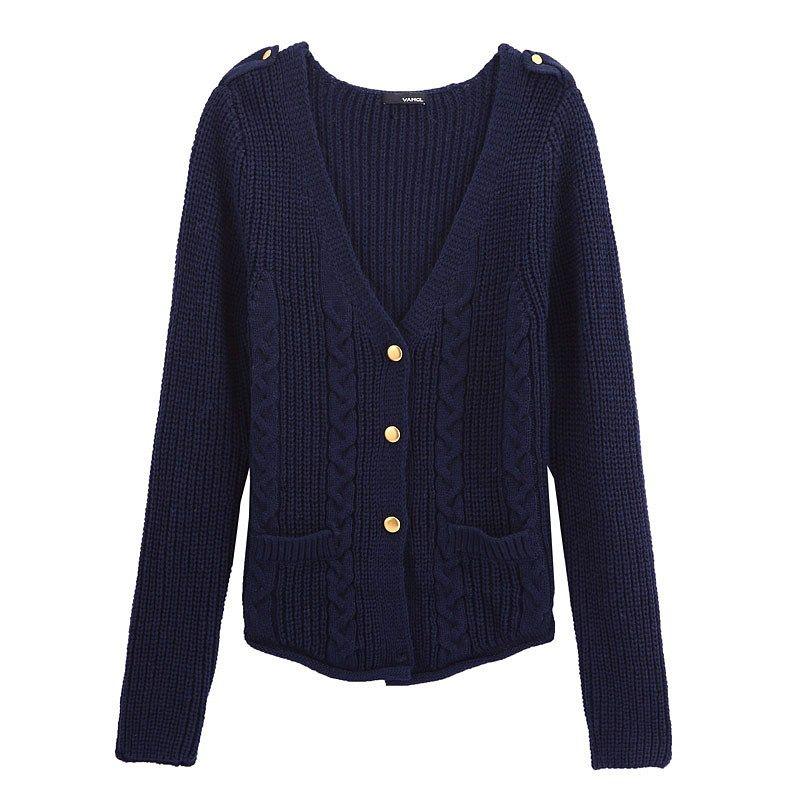 VANCL Anfisa Cable Knit Cardigan Navy Blue SKU | http ...