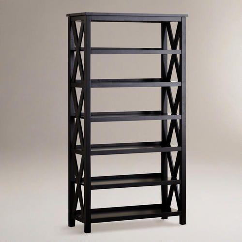 Antique Black Verona Six Shelf Bookcase