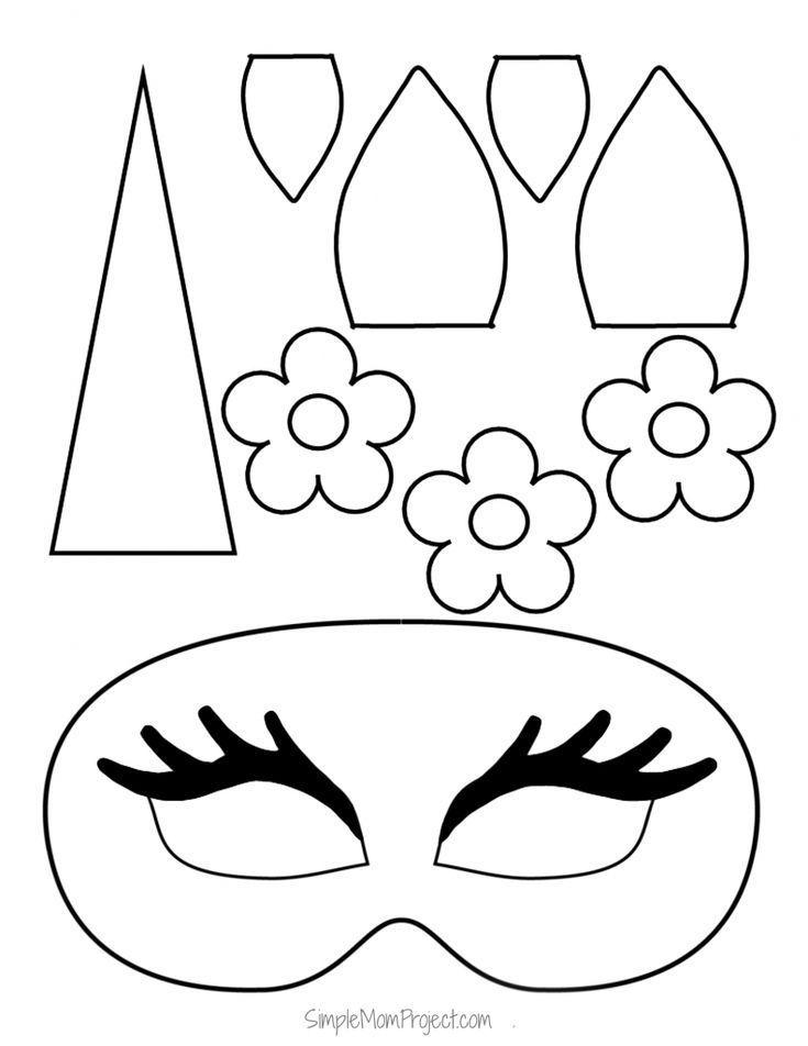 Unicorn Face Masks with FREE Printable Templates   Unicorn ...
